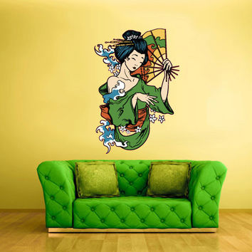 Full Color Wall Decal Mural Sticker Art Geisha Asian Japan Japanese Girl Woman Face Fan (col208)