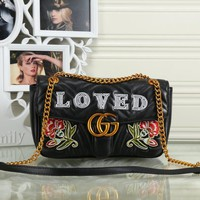 Gucci LOVED Rose Embroidery Leather Metal Chain Shoulder Bag Crossbody Satchel High Quality Black I-MYJSY-BB