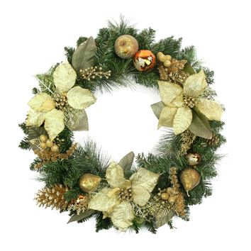 """24"""" Pre-Decorated Gold Poinsettia Copper Ball Twig Faux Christmas Wreath"""