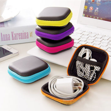 Durable Zipper Hard Headphone Case PU Leather Earphone Protective Usb Cable Organizer Portable Earbuds Pouch Box