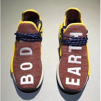 Adidas Human Race nmd Fashion Casual Running Sports Shoes Embroider Letter For Women Men Brown