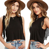 Fashion Womens Lady Summer Vest Tassel Sleeveless Blouse Casual Tank Top T-Shirt