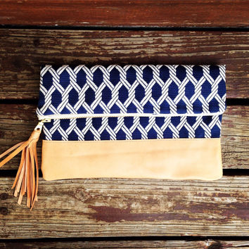 Nautical Rope Foldover Clutch. Best selling clutch, most popular