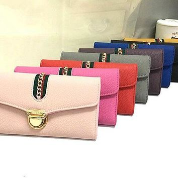 ESBON Gucci' Women Purse Fashion Personality Metal Lock Long Section Three Fold Wallet Handbag