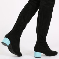 Naiya Colour Block Heel Long Boots in Black Faux Suede Blue Heel