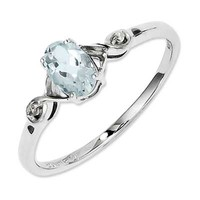 Oval Aquamarine and Diamond Accent Ring in Sterling Silver