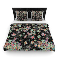"Julia Grifol ""My Small Flowers"" Black Floral Woven Duvet Cover"
