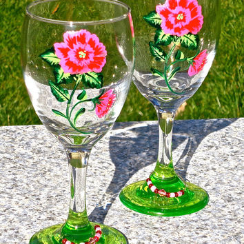 Hand Painted Wine Glasses With Pink And Red Roses Valentines Day Gift