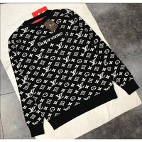 ONETOW Supreme LV autumn and winter new knit sweater warm solid color couple men and women with the jacket Black