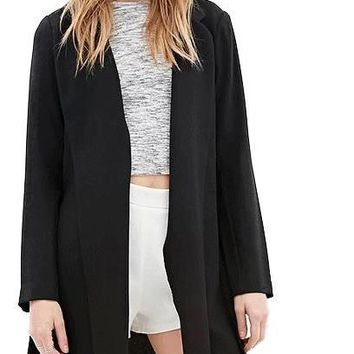 New Women Fashion Casual Blazer Slim Side Split Solid Long Sleeve Midi Coat Office Lady Notched Collar Black