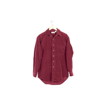 L.L. Bean burgundy corduroy shirt / soft / maroon / mens button down / basic / classic / outdoors / rustic / oversize