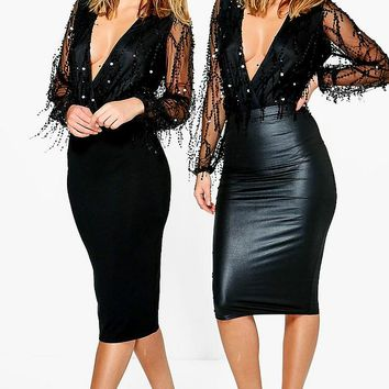 Amaya 2 Pack Wet Look And Jersey Midi Skirt | Boohoo
