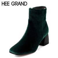 HEE GRAND Women's Ankle Boots 2016 Autumn Solid Flock Boot Woman High Fashion Square High Heels Boots Pump Shoes Woman XWX4354
