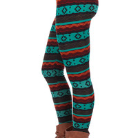 Black and Turquoise Unique Print Fleece Lined Leggings