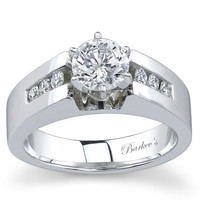 Barkev's Round Cut Channel Set Wide Diamond Engagement Ring