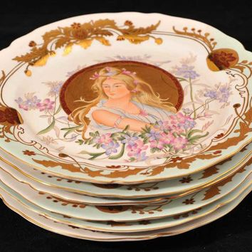 Canonbury - Set 6 Sevres Porcelain Plates Painted France Pottery