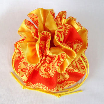 Jewelry  Drawstring Travel Tote, Pouch, Large, Gypsy Bandana Moon Tonal Kaleidoscope in Orange