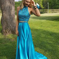 Teal Green Two Piece Beaded Sparkly Long Backless Prom Dresses
