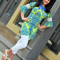Lime & Navy Scroll Print Dress with White Lace Middle Sleeves