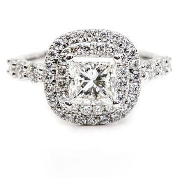 2.27 Carats Double Halo Diamond Engagement Ring with Princess Center Stone