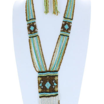 Cross AZTEC Trendy Chevron Seedbead Long Fringe Necklace and Earrings Set Beaded Fashion Brown Turquoise Bead Costume Jewelry Gift