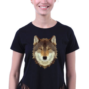 Triangle Geometric Wolf Head Art Design Print Animal Crop Top Fringe T-shirt