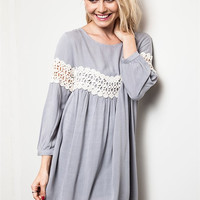 Lace Detailed Baby Doll Dress - Grey