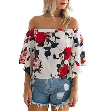women s casual floral off the shoulder bell sleeve chiffon blouse shirt tops  number 1
