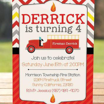 Fireman Invitation - Fireman Birthday Party Invitation
