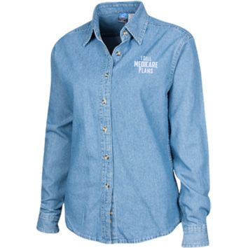 I Sell Medicare Plans Women's Custom Embroidered Long Sleeve Denim Shirt