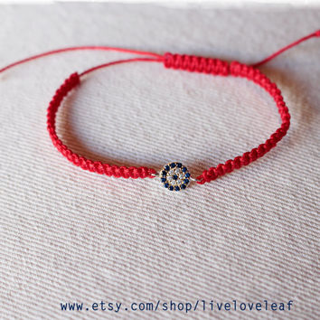 Red String Macrame Evil Eye Bracelet Sterling Silver Handwoven Adjule Slipknot Bracelets