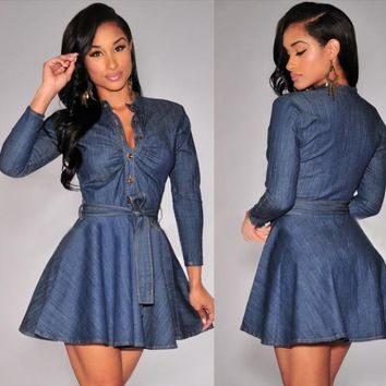 Long Sleeve Pleated Denim Dress