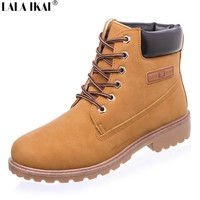Leather Women Boots Lace up Solid Casual Ankle Boots for Women Round Toe Shoes Woman Martin Boots