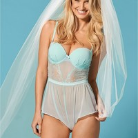Mint Lace Romper with Cups from VENUS