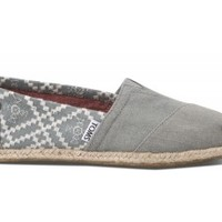 TOMS Denim Embroidered Women's Classics Slip-On Shoes,