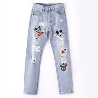 Women Jeans With Flowers Ripped High Waist Youth Girls Jeans Woman Printing Hole Femme Trousers 0811