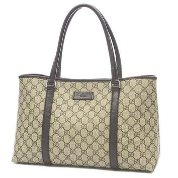 GUCCI GGold Platedlatos Tote Bag PVC / Leather Beige / Brown 114595 Free S...