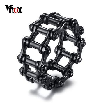 Vnox Stylish Punk Motorcycle Biker Chain Ring for Men Black Stainless Steel Bicycle Link Band Male Alliance Rock Jewlery