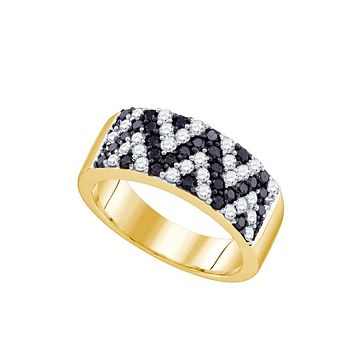 10kt Yellow Gold Womens Round Black Colored Diamond Chevron Band Ring 1.00 Cttw
