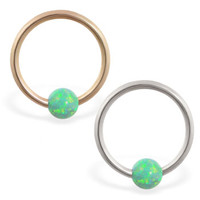 14K real gold captive bead ring with green opal ball