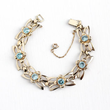Vintage 14k Rosy Yellow Gold on Sterling Silver Genuine Blue Zicon Bracelet - Retro 1940s Gemstone Flower Panel Symmetallic Vermeil Jewelry