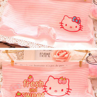 NWT Cute Hello Kitty Striped Stretchy Low Rise Boyshorts Hipster Panties SZ S,M