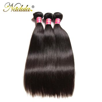 Nadula Hair 3 Bundles Indian Straight Hair 8-30inch Indian Hair Straight 100% Remy Human Hair Weave Bundles Machine Double Weft