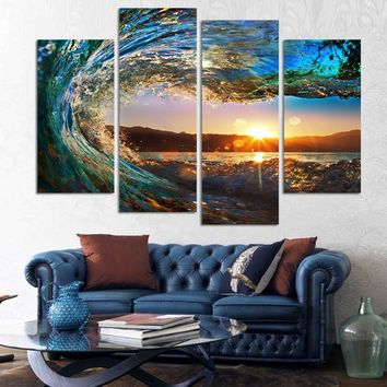 HD 4 Panels Eye Of The Wave Panel Canvas Painting Wall Art Home Decoration 4 Piece  Poster Prints Weaves Seascape Frame