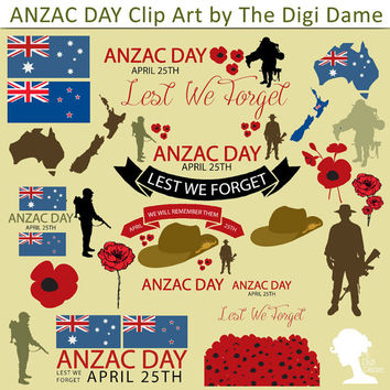 Digital Scrapbooking Elements/Clip Art: INSTANT DOWNLOAD ANZAC Day - Soldiers, Poppies, Slouch Hats, Australian & New Zealand Flags