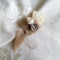 Cream rustic wedding Rustic BOUTONNIERE / CORSAGE groom groomsman boutonniere, Sola Flower, Wedding Flowers custom