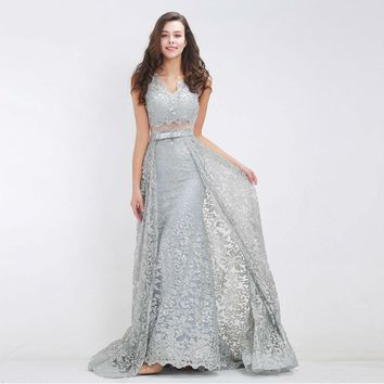 Formal Gray Evening Dresses Long Luxury Beading Glitter Attachable Train Floor Length V-neck Prom Gowns