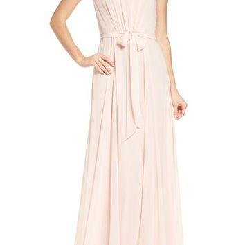 Amsale One-Shoulder Chiffon A-Line Gown | Nordstrom