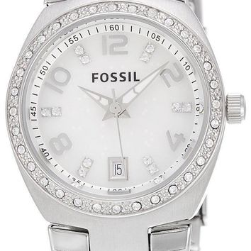 Fossil Flash Swarovski Crystal Mother of Pearl Dial AM4141 Women's Watch