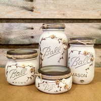 Mason Jar Desk Set, Mason Jar Bathroom Set, painted Mason Jars, Antique finish Ivory Mason Jar Office Decor, 4 Piece Mason Jar Vanity Set